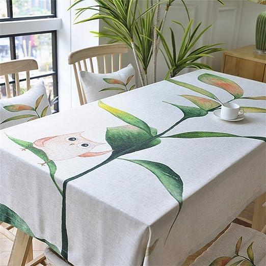 130 * 220 cm Mantel Beige de búhos, diseño de árbol, lino y ...