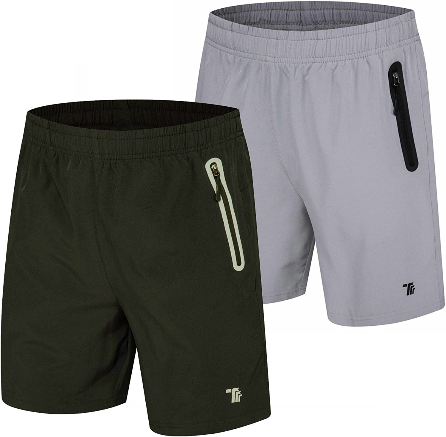 TBMPOY Men's 7'' Athletic Running Shorts Quick Dry Shorts with Zipper Pockets
