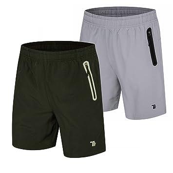 418f474f3acf TBMPOY Men's Dry Gym Sports Jogger Shorts Active Hiking Shorts (01,Black+lightgrey