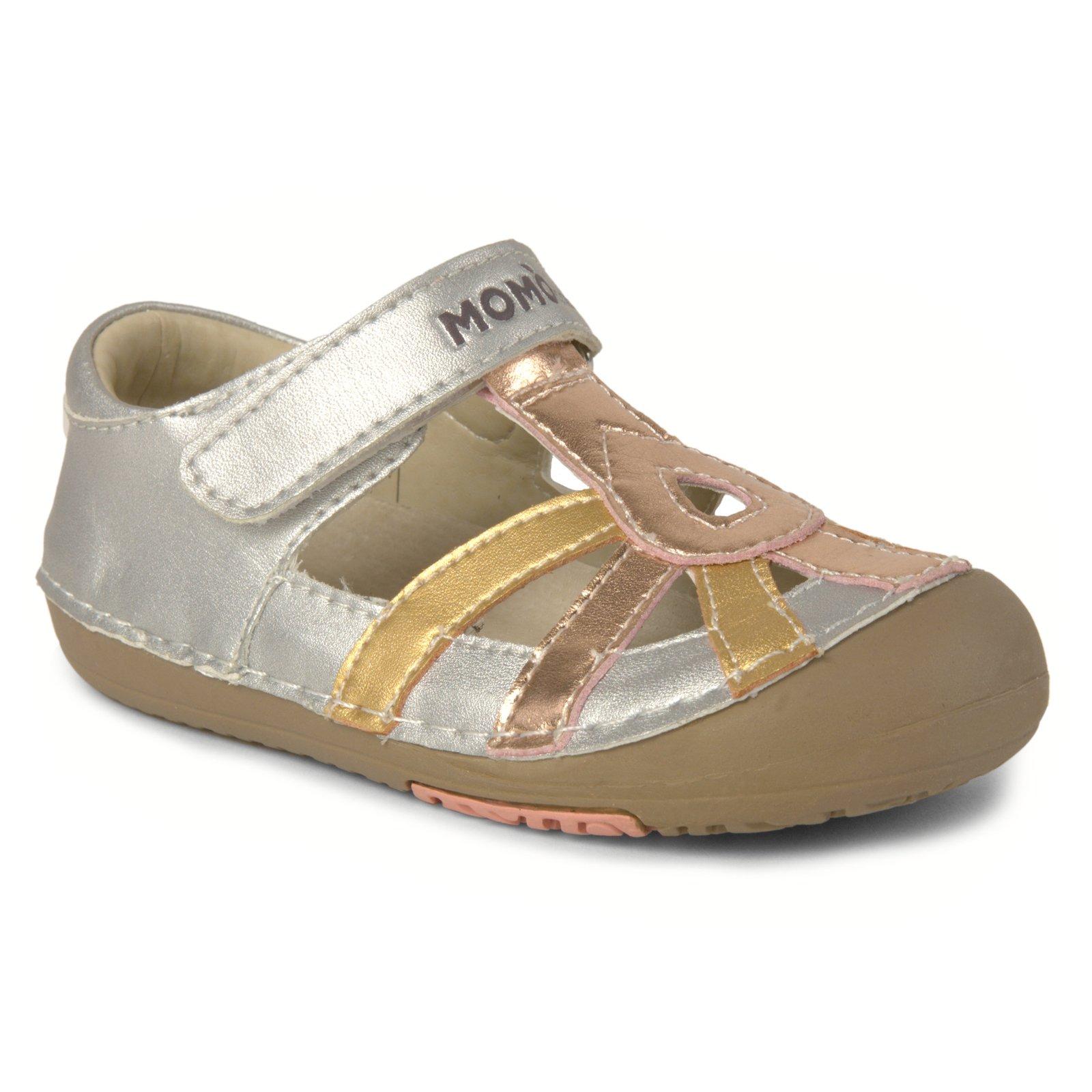 Momo Baby Girls First Walker/Toddler Metallic Silver Sandal Shoes - 8 M US Toddler