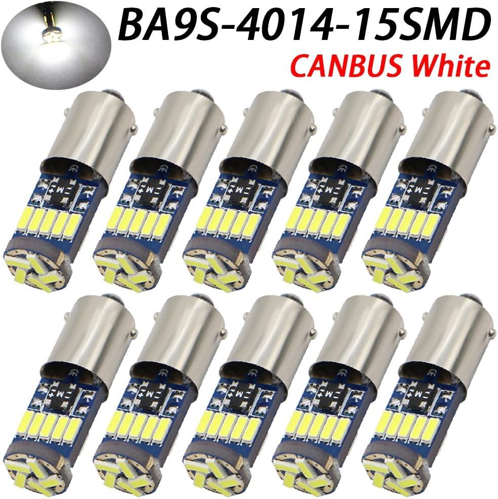 TABEN 2 Pezzi Canbus BA9s Lampadina a LED 15 SMD 4014 Chipset BA9S H6W T4W Luce di parcheggio Luce di retromarcia Luce di retromarcia Lampadina Bianca Libera 12V