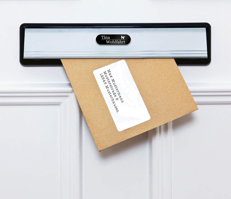 Gr/ö/ße 7x2 cm Namensschild Briefkastenschild selbstklebend oder mit Bohrl/öcher Klingelschild mit mehr als 80 Motive Edle T/ürschilder mit Gravur