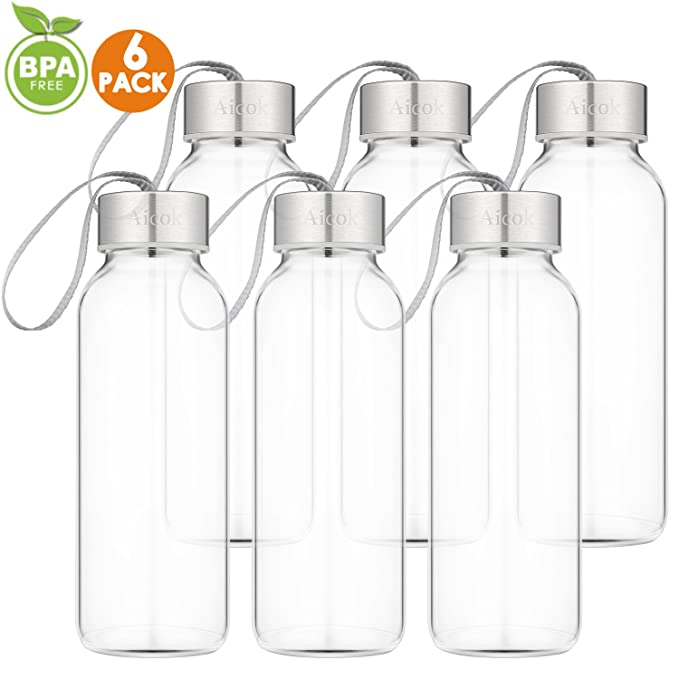 Amazon.com: Aicok Botella de agua de vidrio para Jugo ...