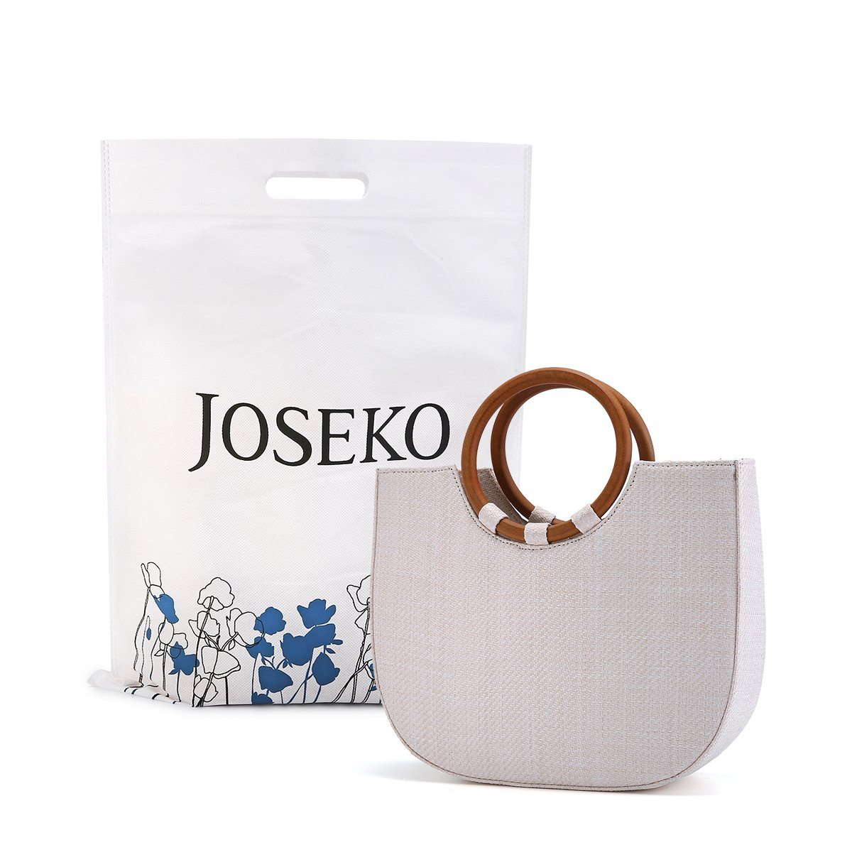 Summer Beach Bag, JOSEKO Womens Straw Handbag Straw Shoulder Bag for Beach Travel and Everyday Use White 11.4''L x 3.5''W x 9.8''H