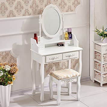OSPI Blanc Vintage Meuble Coiffeuse Table de Maquillage Commode ...