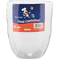 Bel Plastic Food Container with Lid, Round (Pack of 10)