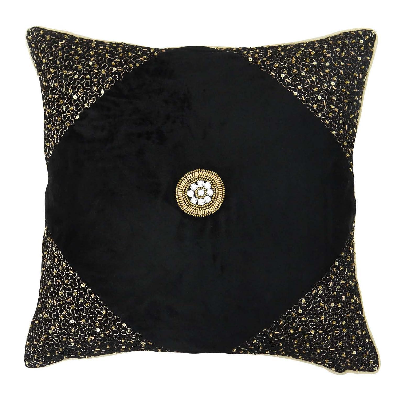S4Sassy Handmade Decorative Beaded Cushion Cover Velvet Black Pillow Case Square Throw 18 x 18