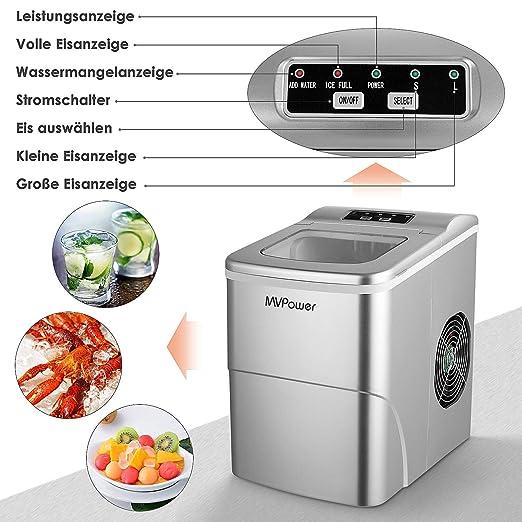 MVPower Máquina para Hacer Cubitos de Hielo 12 kg Tiempo de producción 6-8 Minutos 2 tamaños de Cubitos de Hielo 95 W depósito de Agua de 2 L (1)