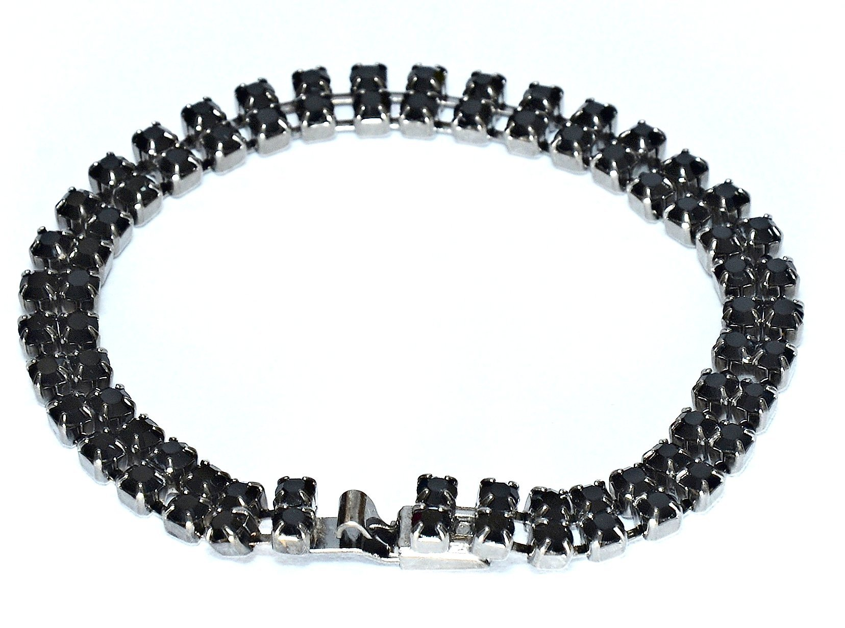 2 Row Tennis Swarovski Crystal Bracelet in Jet Plated / Jet Crystal Tennis Bracelet / Two Row Bracelet in Swarovski Crystal in Jet 165mm with Clasp in Swarovski crystal in Jet & Gunmetal Finish