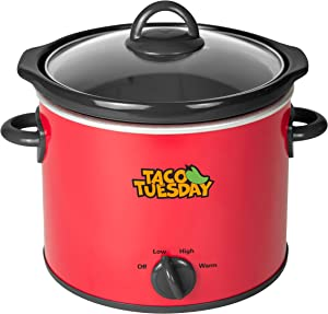 Nostalgia Taco Tuesday 4-Quart Fiesta Slow Cooker With Tempered Glass Lid, Cool-Touch Handles, Removable Round Ceramic Pot, Red