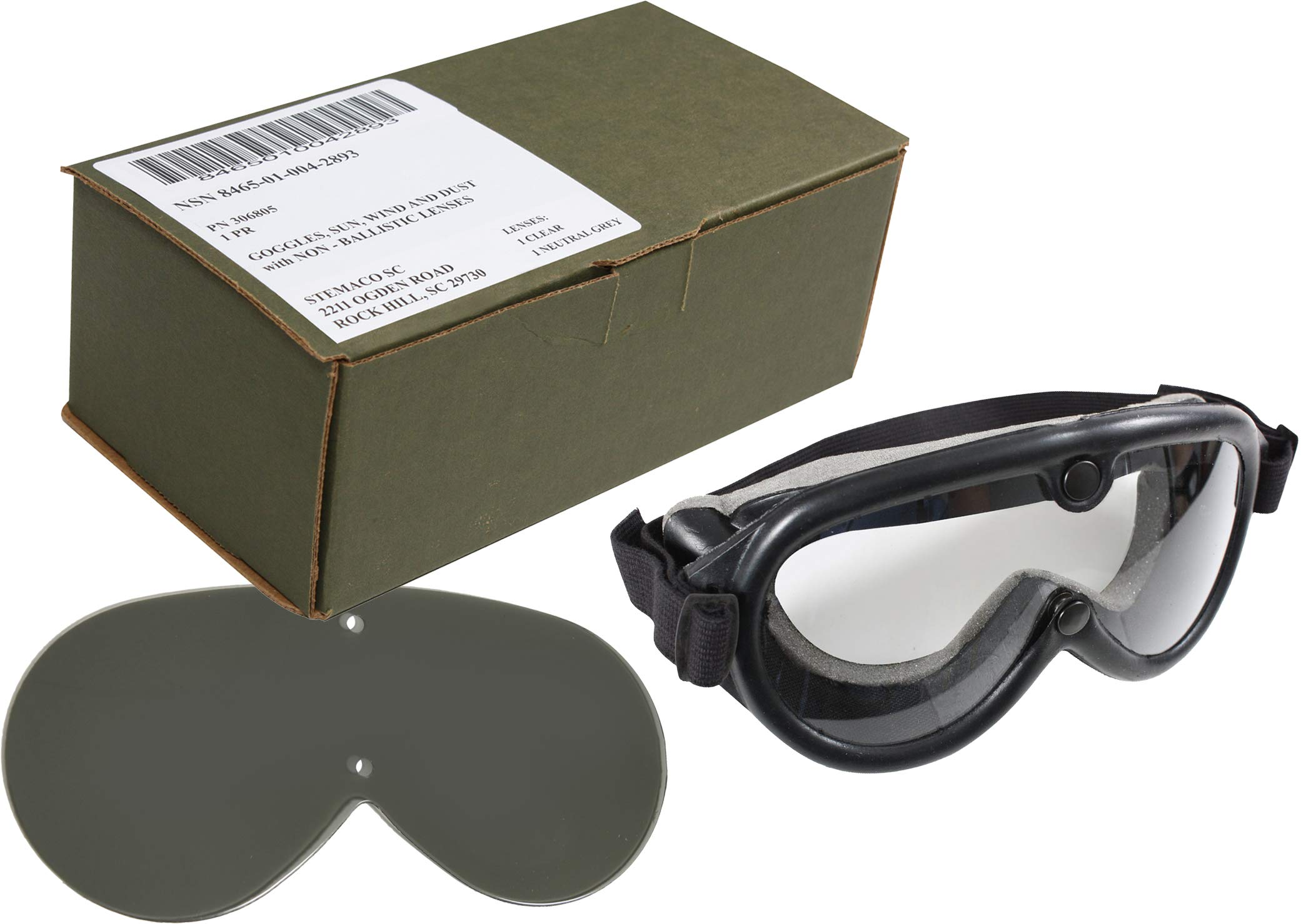 Genuine US Army GI Sun, Wind & Dust SWDG Military Goggles - Black with 2 Lenses Included (USA Made) by U.S. Military