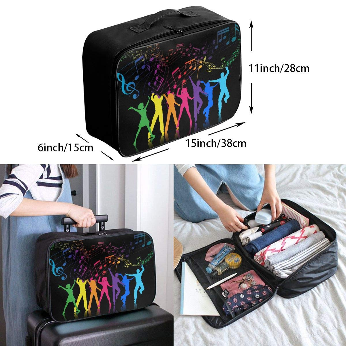 Travel Luggage Duffle Bag Lightweight Portable Handbag Colorful Music Notes Dancer Large Capacity Waterproof Foldable Storage Tote