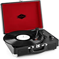 auna Peggy Sue Tocadiscos • Reproductor de vinilos • Accionamiento de correa • Altavoces estéreo • Puerto USB • Reproducción y digitalización • Control de volumen • Salida de línea • Negro