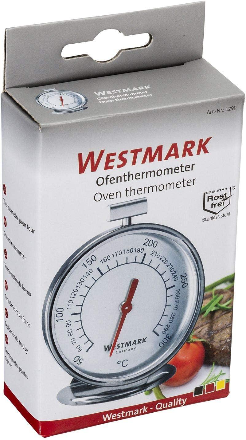 Westmark Ofenthermometer zum Aufh/ängen und Hinstellen Silber//Wei/ß 12902260 Durchmesser: 7,5 cm Rostfreier Edelstahl