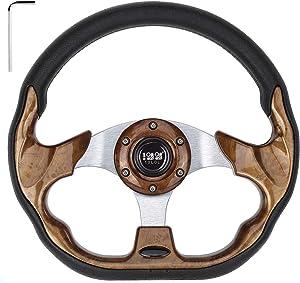 "10L0L Generic 12.5"" Golf Cart Steering Wheel OR 5/6 Hole Steering Wheel Chrome Adapter for Club Car,Yamaha,EZGO"