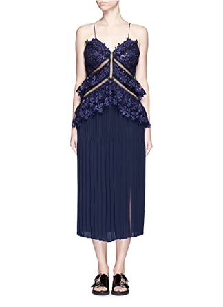 e7c767c4d161 Self-Portrait Pleated Lace Double Peplum Midi Dress Navy womens UK size 14:  Amazon.co.uk: Clothing