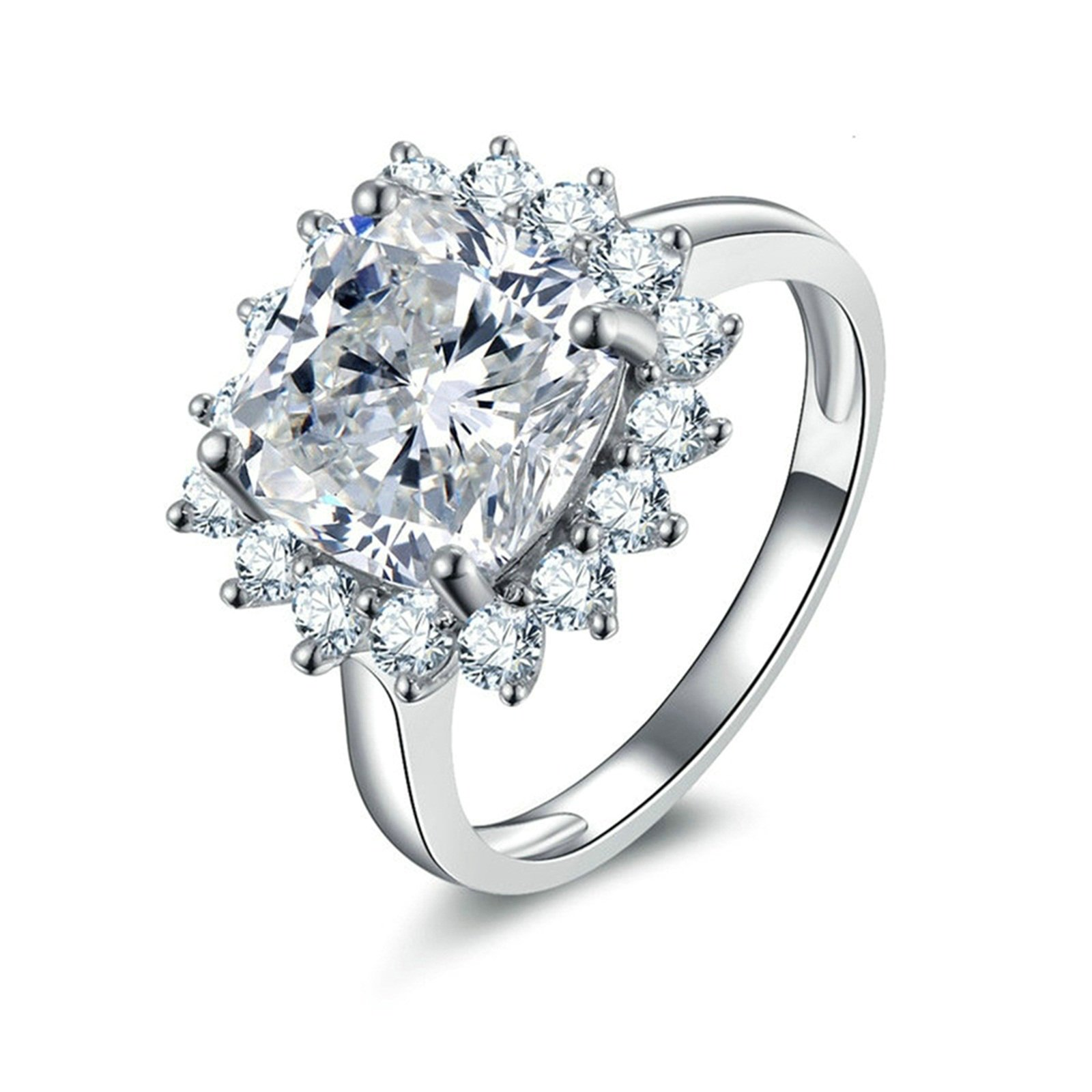 Daesar Promise Rings for Her Customize Cushion & Round Cut Cubic Zirconia Ring Size 9.5