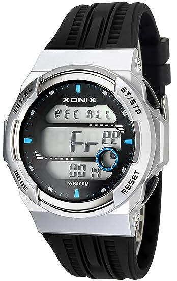 XONIX Reloj digital - 15 x lap memoria temporizador de intervalos, 3 x, hora mundial, alarma de 8 x, wr100 m, xdsj/4: Amazon.es: Relojes