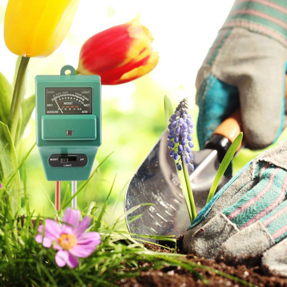 Surenhap Bodentester 3-in-1 digitales Bodenmessger/ät Feuchtigkeitsmessger/ät Pflanze Tester f/ür Garten Rasen Landwirtschaft