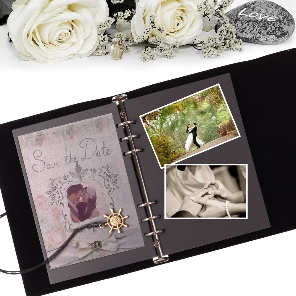 Clearance Price | Scrapbook | Vintage Leather DIY Photo Album | Premium Quality | Great for Wedding, Anniversary, Birthday, Guestbook, or Holiday Memories Black Leather Cover