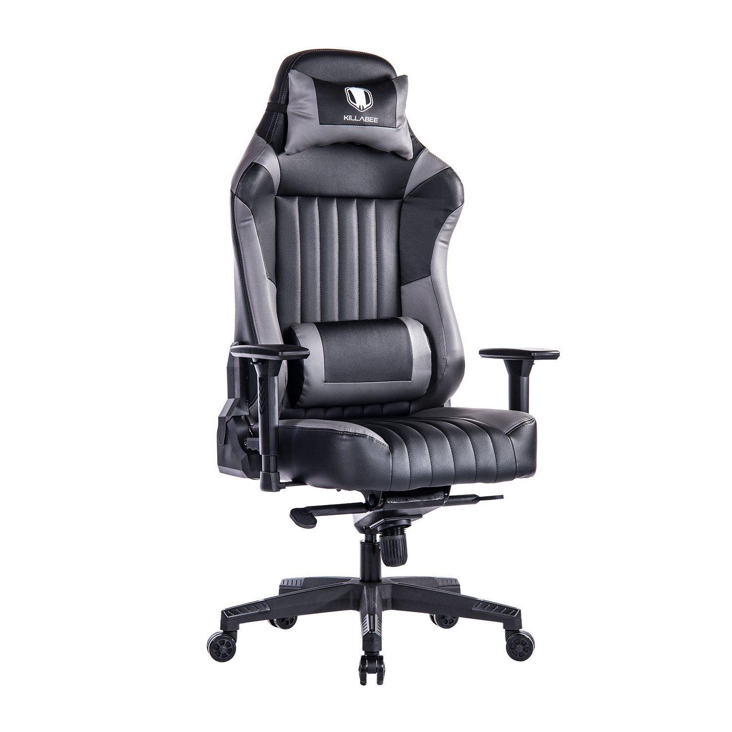 KILLABEE Big and Tall 440lb Gaming Chair - Adjustable Tilt, Back Angle and 3D Arms Ergonomic High-Back Racing Leather Executive Computer Desk Office Chair Detachable Headrest and Lumbar Support, Grey