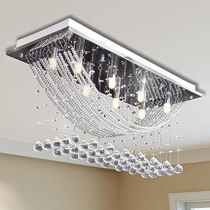 Weilandeal Lampara de techo con lagrimas de cristal 8 x G9 ...