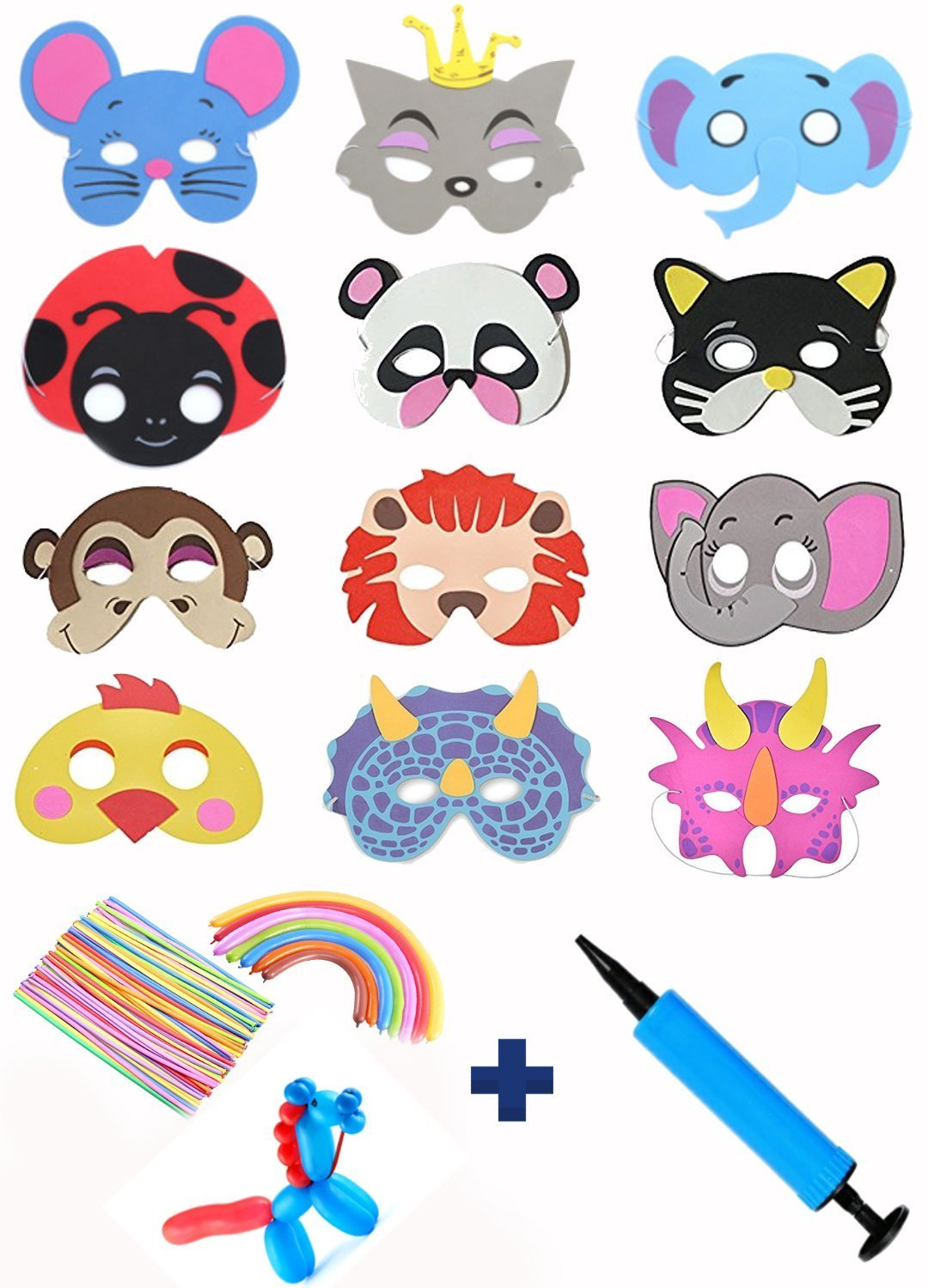 41Pcs Animal Masks Balloons Air Pump for Kids Christmas Birthday Jungle Safari Zoo Dress Up Costume Party Kit Supplies Favors