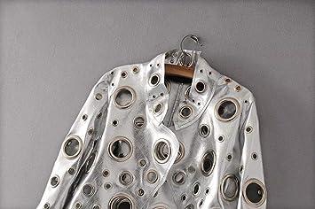 SBL Giacca da Donna in Pelle Sintetica con Colletto in Pelle Giacca da Moto Donna in Metallo Color Cenere