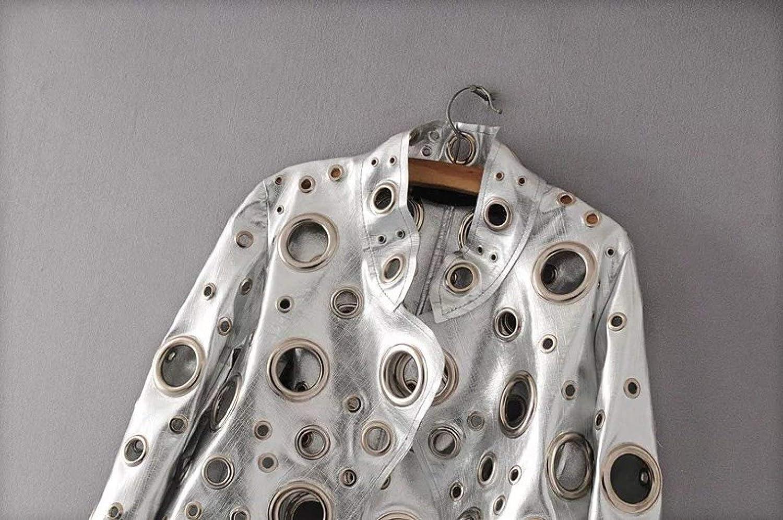 Sbl giacca da donna in pelle sintetica con colletto in pelle