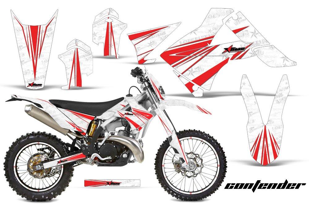 ガスGas EC 250 300 2010 – 2012 MXダートバイクグラフィックキットステッカーデカールwith Number Plates Contenderレッドホワイト   B076NY9LL9