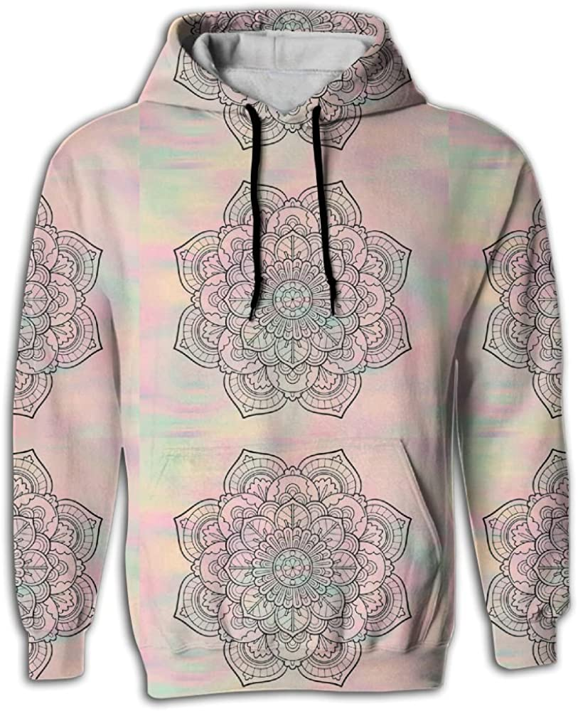 FUSALIN Orange Dahlia Floral Flowers PatternUnisex 3D Printed Sweatshirt Casual Pullover Hoodie With Big Pockets