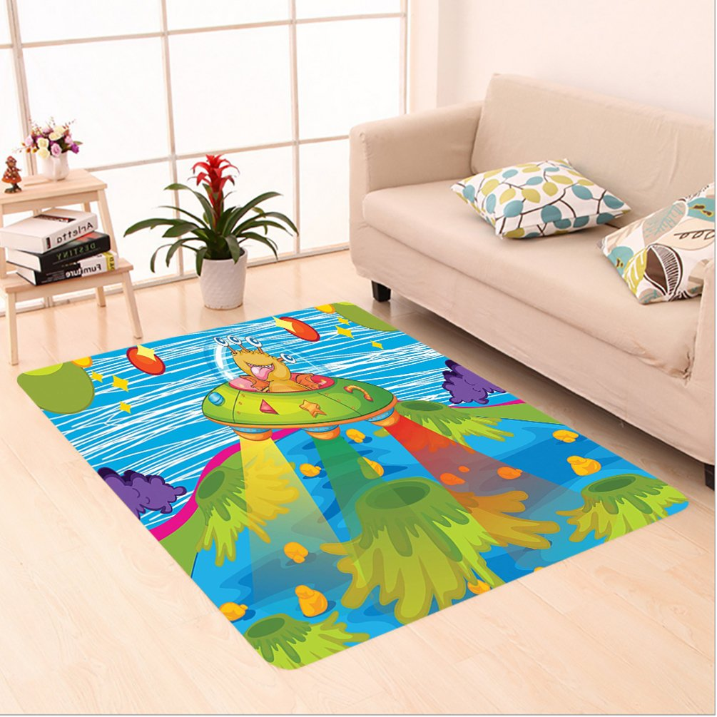 Nalahome Custom carpet er Space Decor For Kids Scary Monster in Ufo on Planet Solar System Galaxy Funky Back Green Blue area rugs for Living Dining Room Bedroom Hallway Office Carpet (24''x21'')