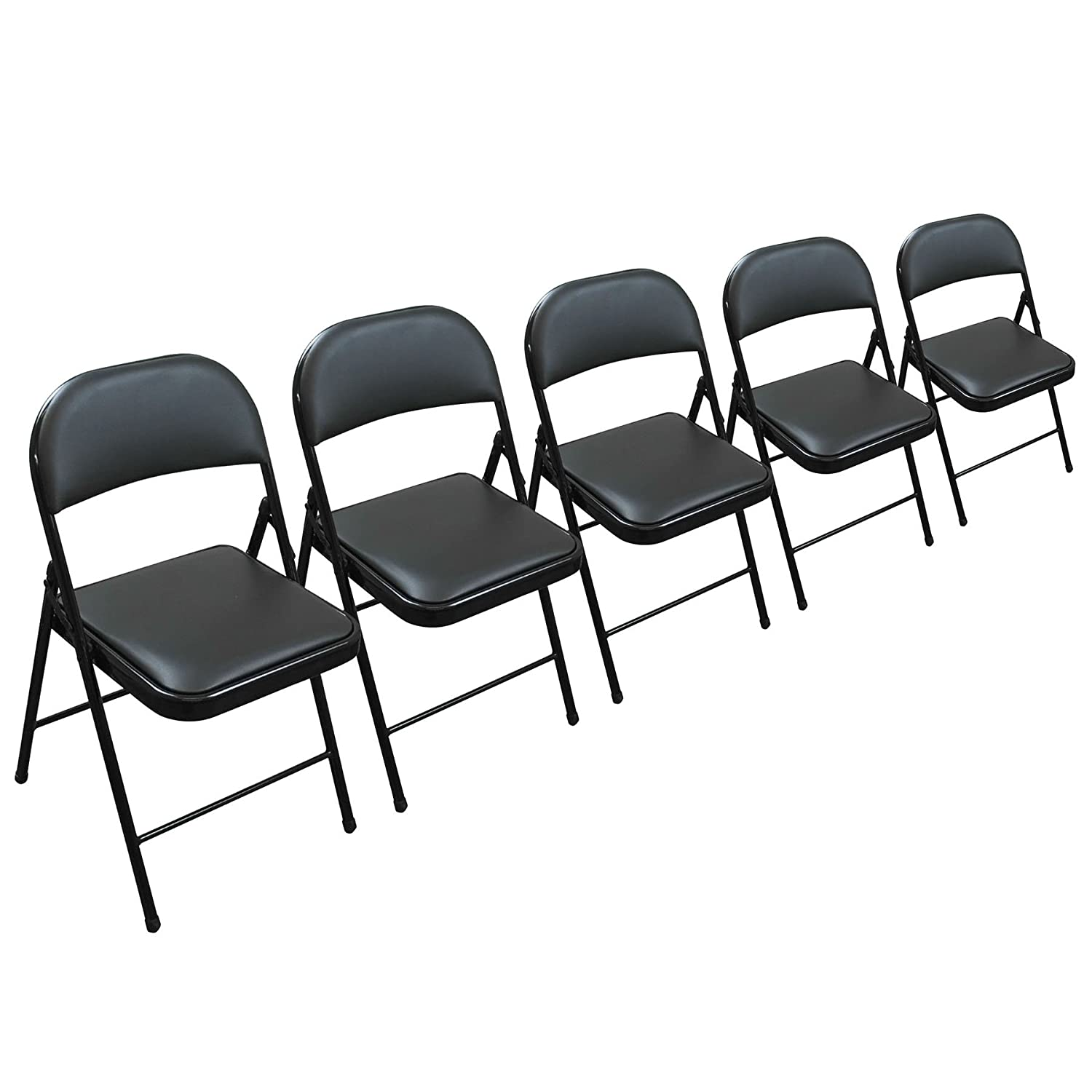 Folding Faux Leather Chair - Strong Steel Event Hall Seating or Temporary  Seat for Guests and Desks (5)