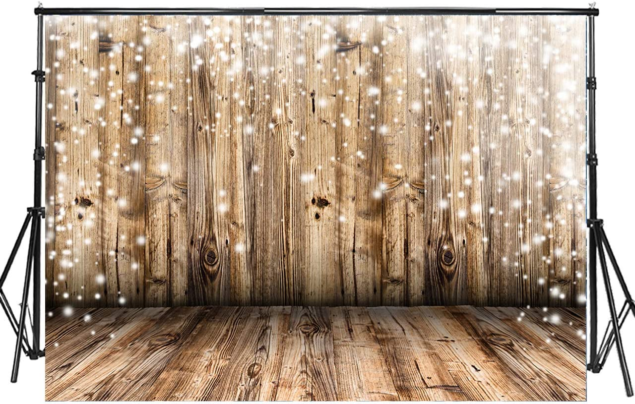 7x5FT Polyester Bokeh Backdrop Photography Background 2018 New Year Wood Number Perspective Room Sparkling Bokeh Wall Wooden Plank Floor Halos Personal Portrait Holiday Party Photo Backdrop