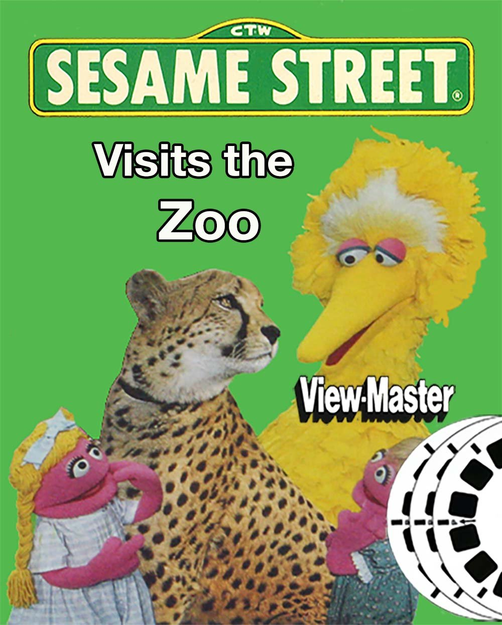 Sesame Visits the Zoo - Classic ViewMaster 3 Reel Set - 21 3D Images - Ernie, Big Bird
