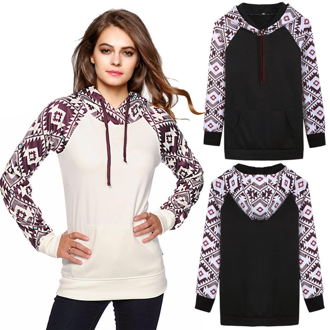 LuShmily Womens Fall Winter Long Sleeve Floral Print Pullover Hoodie Sweatshirt White M