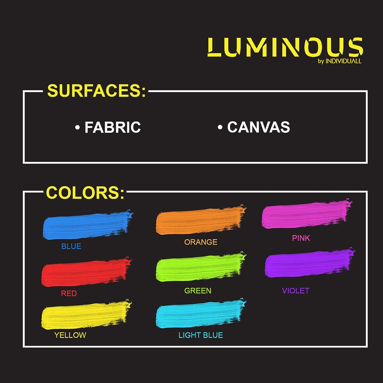 8 x 20 von Luminous individuall UV Textilfarben Neon Set Ideal zum T-Shirt /& Stoff bemalen 8 Waschfeste Stoffmalfarben Schwarzlicht Farbe f/ür knalligen Leuchteffekt