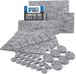 MIGHTY MONKEY Felt Furniture Gripper Pads, 150 Pack, Easy Glide, Stays on Furniture, Pad Prevents Scratches on Floors, Prescored Adhesive Strips Secure to Furniture, Heavy Duty, Protects Floor, Gray