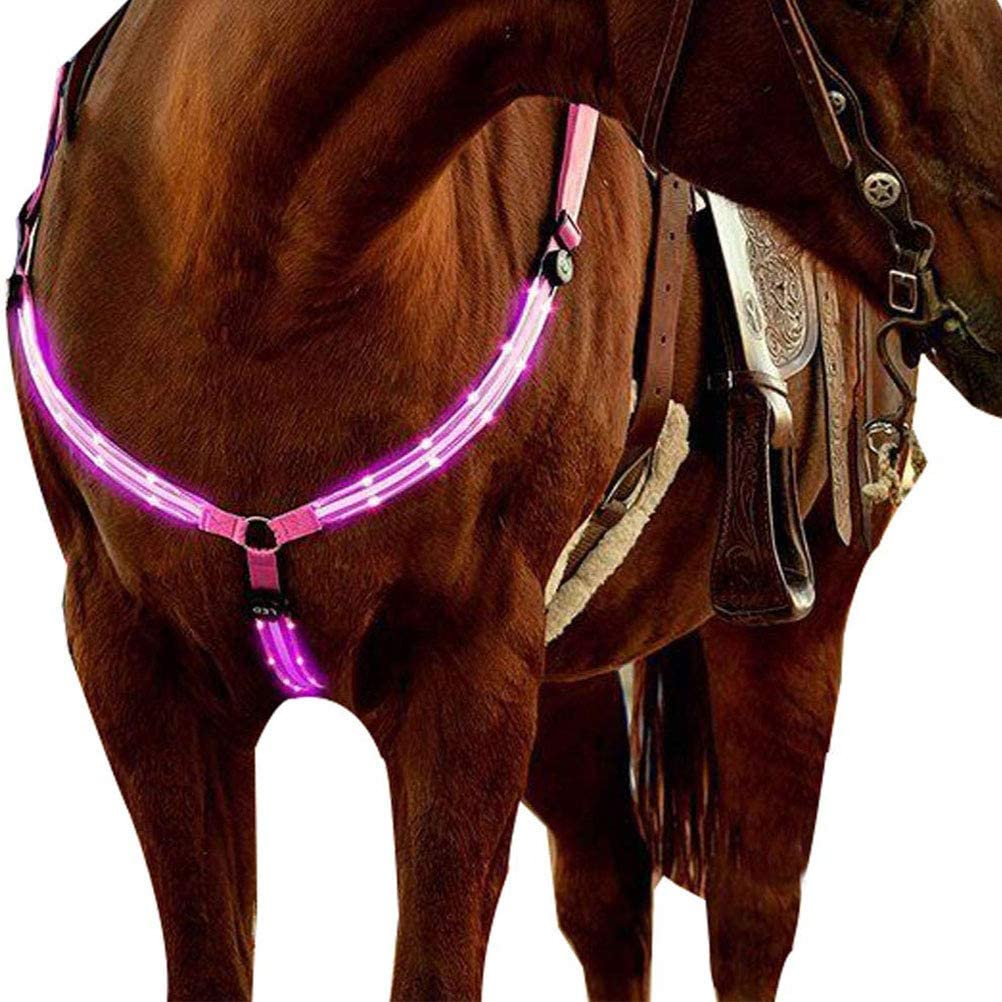 Insuwun Horse Breastplate Collar Best High Visibility Tack for Horseback Riding Chest Strap Safety Gear in Night Equipment for Horse