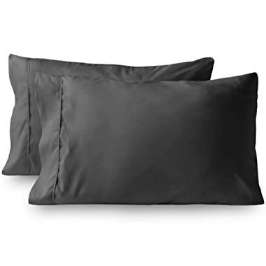 Bare Home Premium 1800 Ultra-Soft Microfiber Pillowcase Set - Double Brushed - Hypoallergenic - Wrinkle Resistant (Standard Pillowcase Set of 2, Grey)