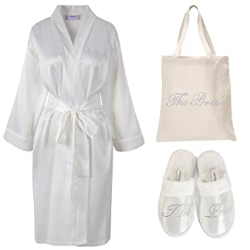 Varsany - Bata de satén para novia, pantuflas y bolsa de tela personalizable, regalo para despedida: Amazon.es: Hogar
