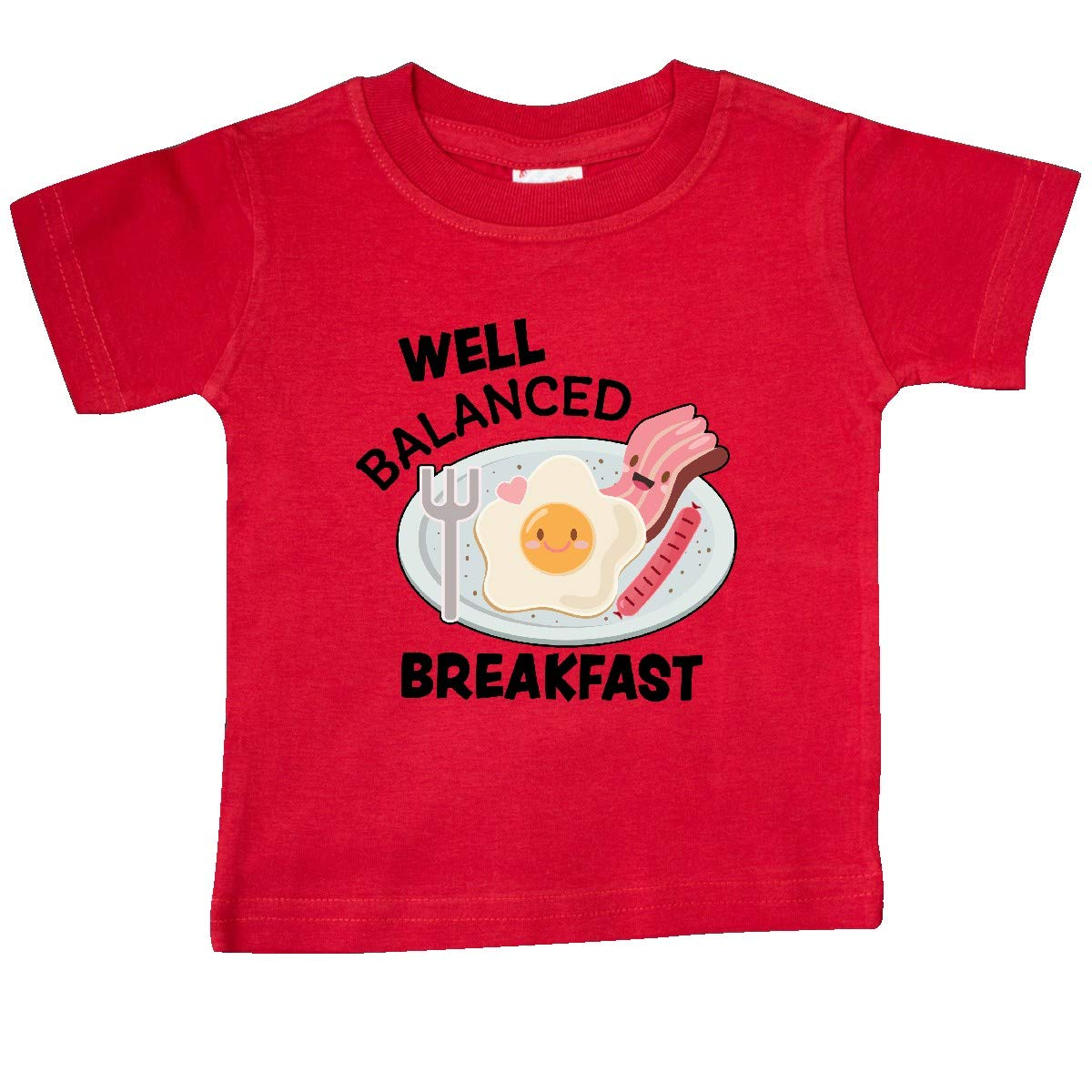 inktastic Well Balanced Breakfast with Plate of Eggs Bacon and Baby T-Shirt