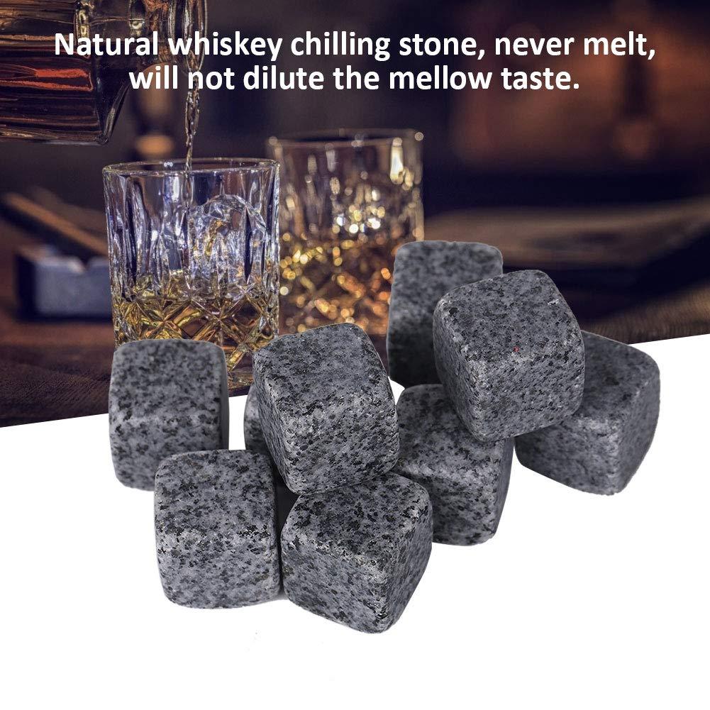 Blanc de s/ésame 9pcs Whisky Stones Whisky Chilling Granite Stones Boissons R/éutilisables Cubes De Glace pour le vin Brandy Whiskey Beer Cooling
