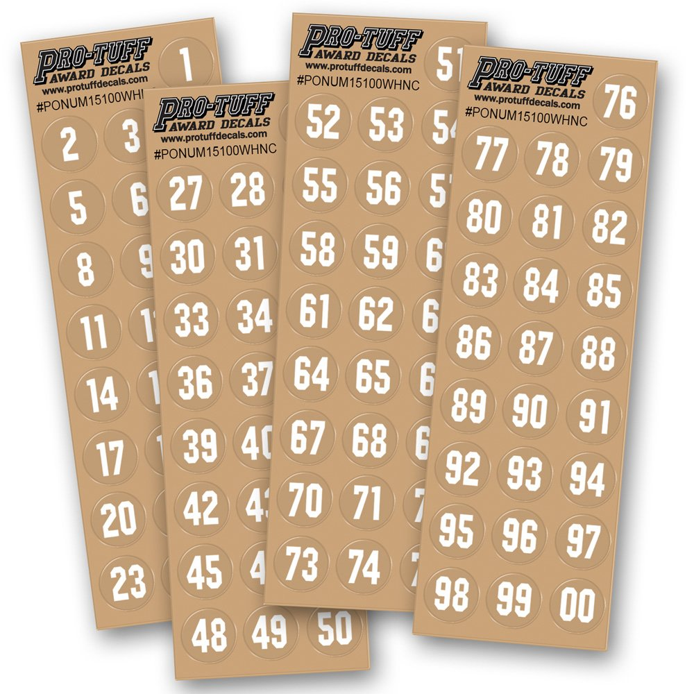 Pro-Tuff Decals Number Decals for Helmets (Football, Lacrosse, Baseball, Softball, Hockey) 100 Stickers (White)