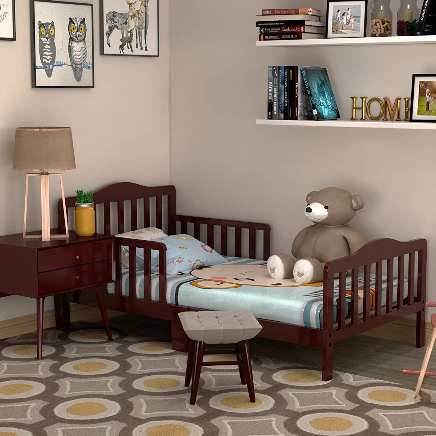 Children Sleeping Bedroom Furniture Sturdy Wooden Frame Extra Safety for Kids Children Wooden Baby Toddler Bed with Safety Guardrails Espresso Color
