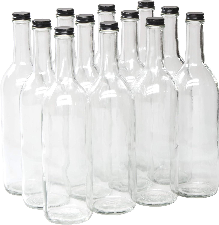 North Mountain Supply - W5CTCL-BK 750ml Clear Glass Bordeaux Wine Bottle Flat-Bottomed Screw-Top Finish (Black Metal Lids)