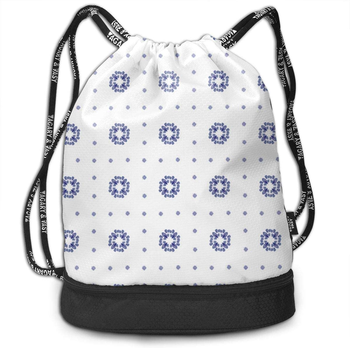 Delft Plaid Dots Drawstring Backpack Sports Athletic Gym Cinch Sack String Storage Bags for Hiking Travel Beach