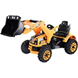 Costzon 12V Battery Powered Kids Ride On Excavator Truck With Front Loader Digger Yellow