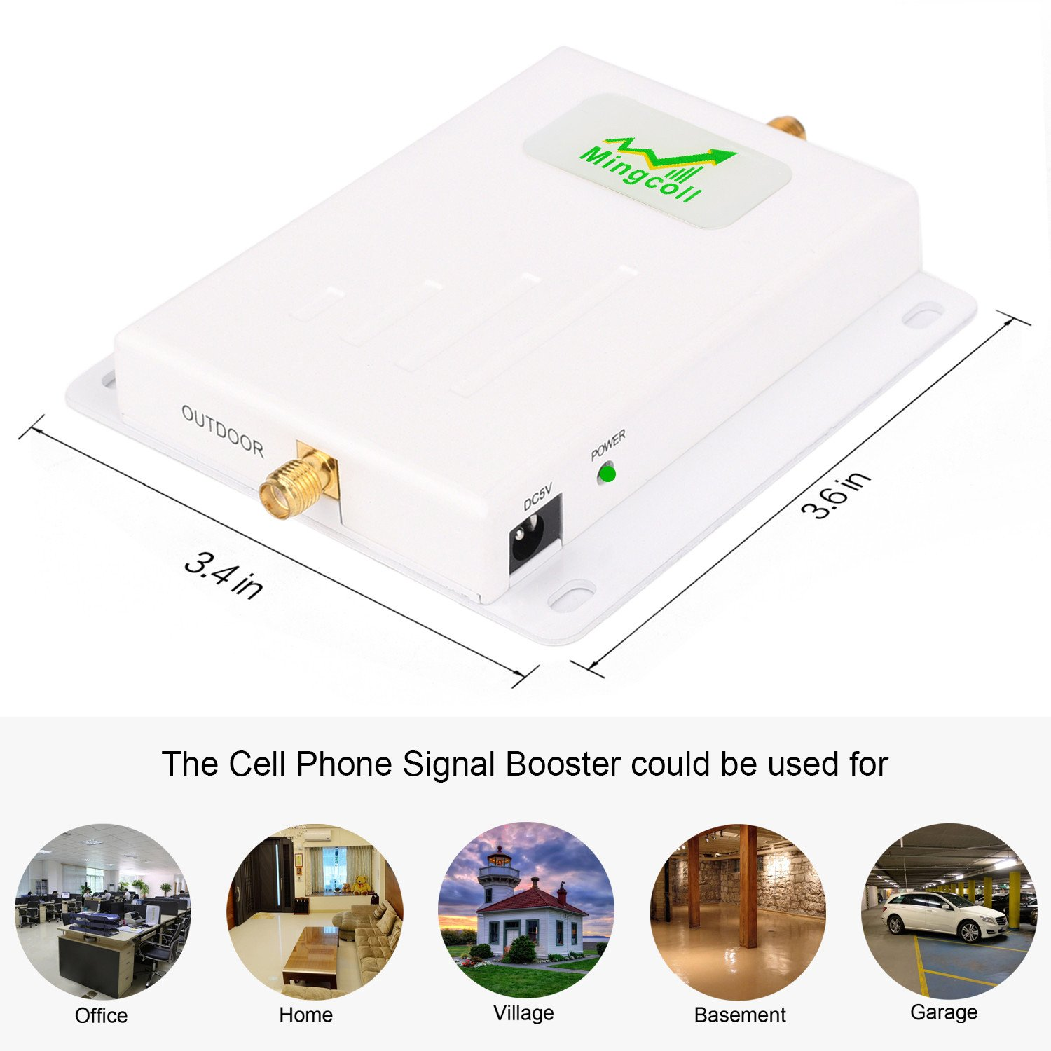Mingcoll Cell Signal Booster ATT 850MHz 2G 3G Band 5 Cell Phone Signal Repeater Booster With Outdoor Yagi Antenna Kit for Home and Office (ATT 2G 3G) by Mingcoll (Image #3)