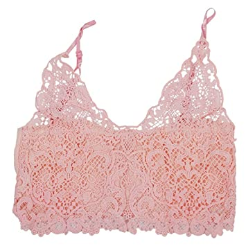 0bfc00ca12 SODIAL(R) Deep V Neck Lace Bralette Top Spaghetti Strap Lace Crochet Tank  Top Lace Crochet Crop Top Sexy Cropped Camisole Bra Tank Top M pink   Amazon.co.uk  ...